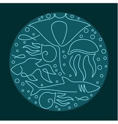 Round composition made of sea fauna vector