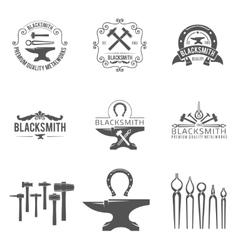 Vintage blacksmith and metalworks logos emblems vector image