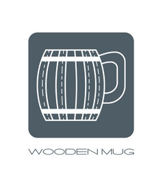 wooden mug for beer drinks white flat linear vector image