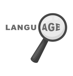 Learning foreign language icon in monochrome style vector image vector image