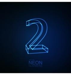 Neon 3D number 2 vector image
