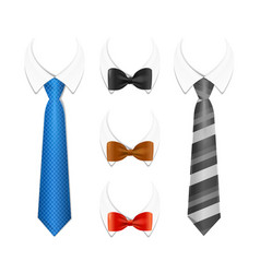 realistic 3d detailed tuxedo tie bow and shirt vector image