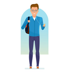 student with backpack on his shoulders vector image