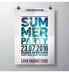 Summer Beach Party Flyer Design with palm vector image vector image