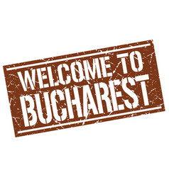 Welcome to bucharest stamp vector