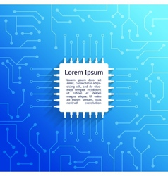 Circuit board blue background vector image vector image