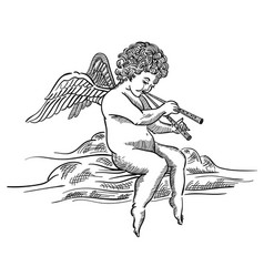 engraved angel musician on cloud vector image