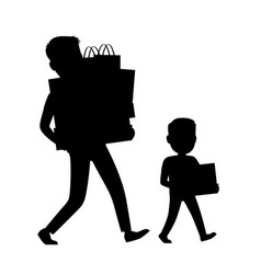 father and son silhouettes carrying purchases vector image
