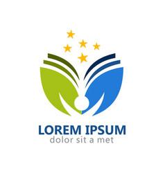 people leaf nature education logo vector image