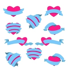 Set of Heart and Ribbon Blue vector image