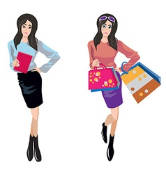 shopping and business woman vector image
