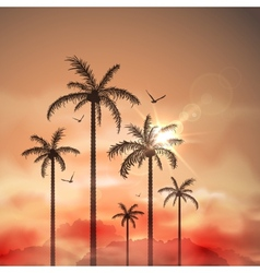 Tropical landscape with palm trees vector image