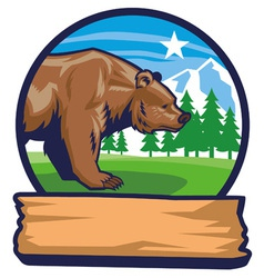 bear mascot with narute background vector image vector image