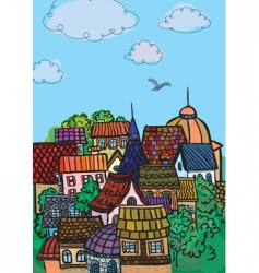 city colorful roofs vector image vector image