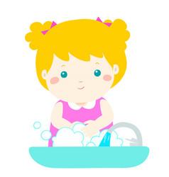 cute girl washing hands vector image vector image