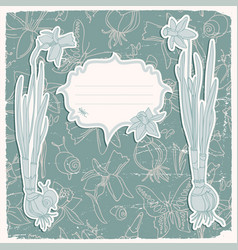 daffodils flowers background vector image vector image