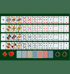 poker cards full set with isolated cards on green vector image vector image