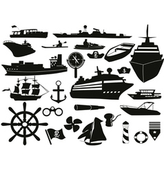 sailing objects icon set vector image vector image