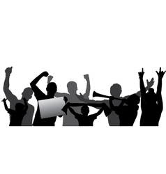 Sport fans cheering crowd silhouettes vector