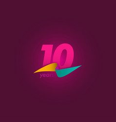 10 years anniversary celebration purple ribbon vector
