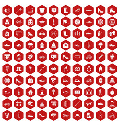 100 shoe icons hexagon red vector