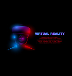 3d neon female face with virtual reality glasses vector image