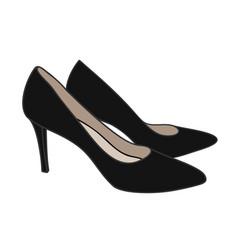 A high-heeled black court shoe top view cartoon vector
