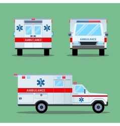 Ambulance Emergency Icon Back Front Side View vector