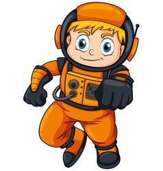 An astronaut wearing orange suit vector