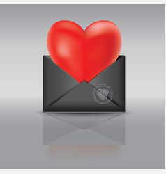 An open black envelope red heart vector