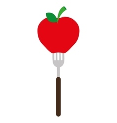 apple on a fork graphic vector image