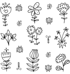 art of spring doodles hand draw vector image