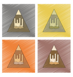 Assembly flat shading style icon mountain vector
