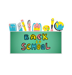 back to school poster school supplies vector image