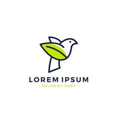 bird leaf logo icon template download monoline vector image