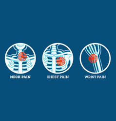 Body pain icons set pain in neck chest and wrist vector