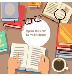 Books reading concept vector