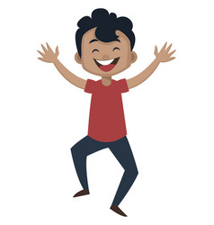 Boy is feeling happy on white background vector