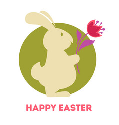 Bunny tulips and colored eggs easter holiday vector