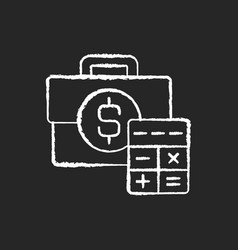 business account chalk white icon on black vector image