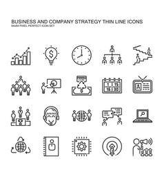 Business and company strategy thin line icons set vector