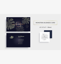 Business card in graphite color with monstera vector