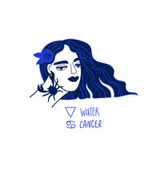 Cancer zodiac sign with beautiful girl vector
