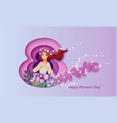 card for 8 march happy womens day paper cut style vector image