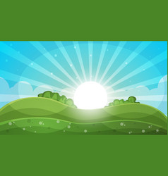 cartoon landscape - abstract sun vector image