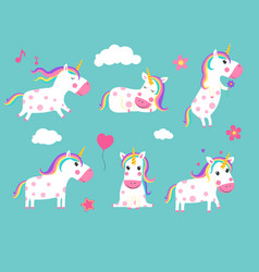 cartoon unicorns cute fairy tale animals in vector image
