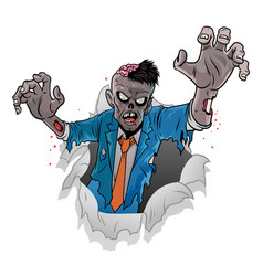 cartoon zombie halloween coming out the vector image