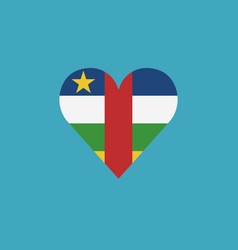 central african republic flag icon in a heart vector image