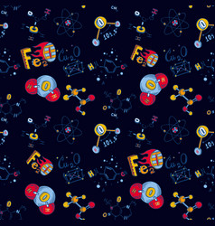 chemistry molecule seamless pattern hand drawn vector image