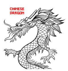 Chinese dragon hand drawn contour drawing vector